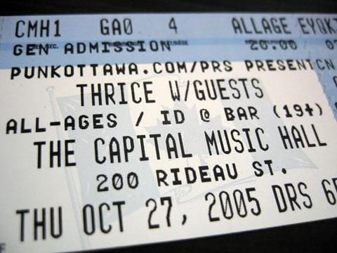 Thumbnail: Thrice ticket