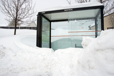 Snow surrounds a bus shelter