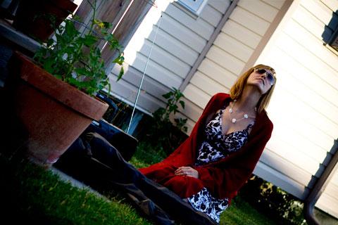 Sarah looks up