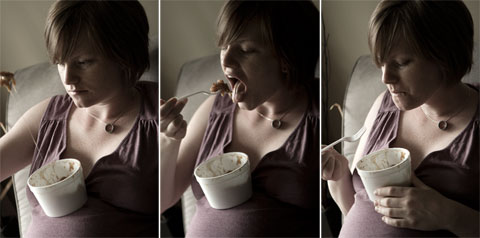 Pregnant eating poutine