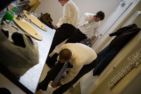 Changing groomsmen
