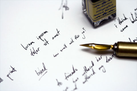 Feather fountain pen writing