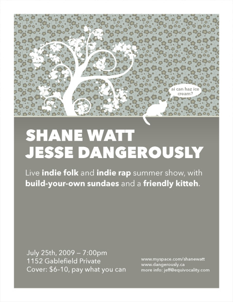 House show invitation, featuring Shane Watt and Jesse Dangerously