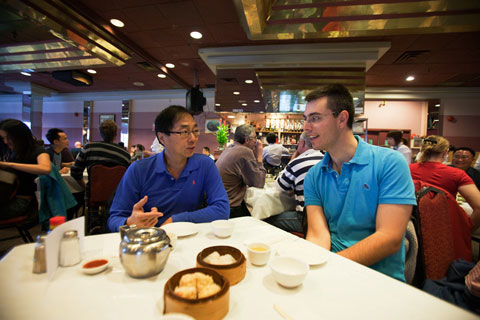John and dad at dim sum