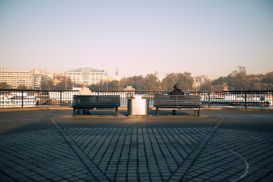 men on benches