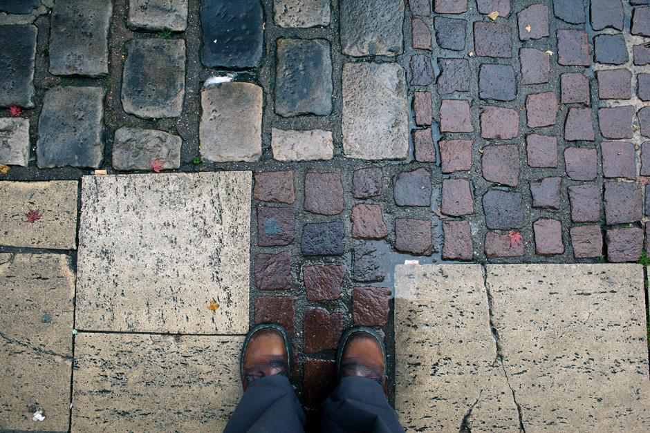 feet on stones