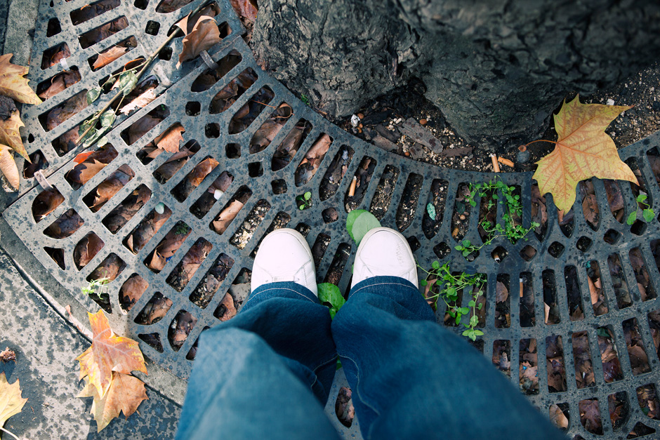 shoes on tree grate