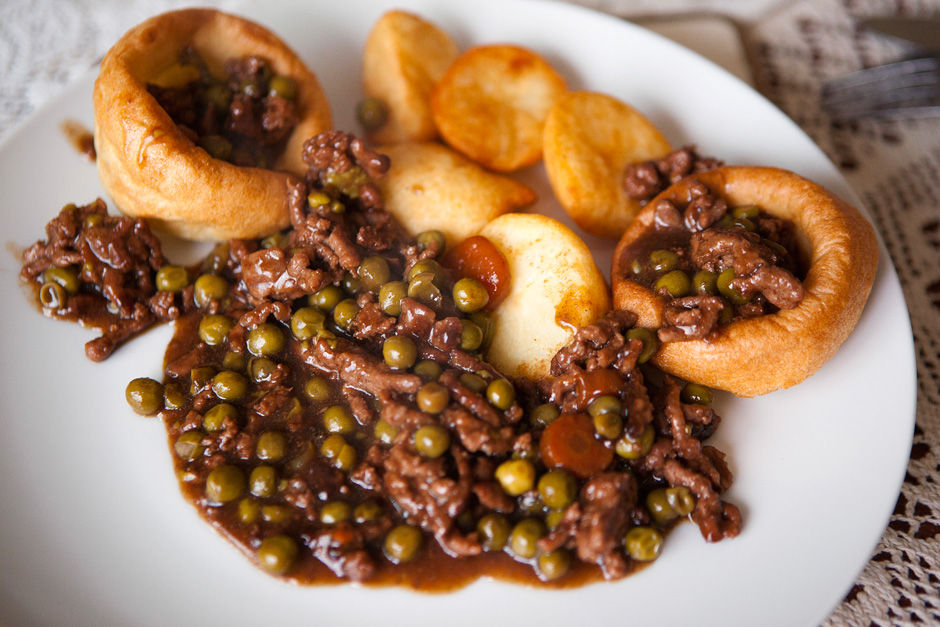 minced beef with Yorkshire pudding