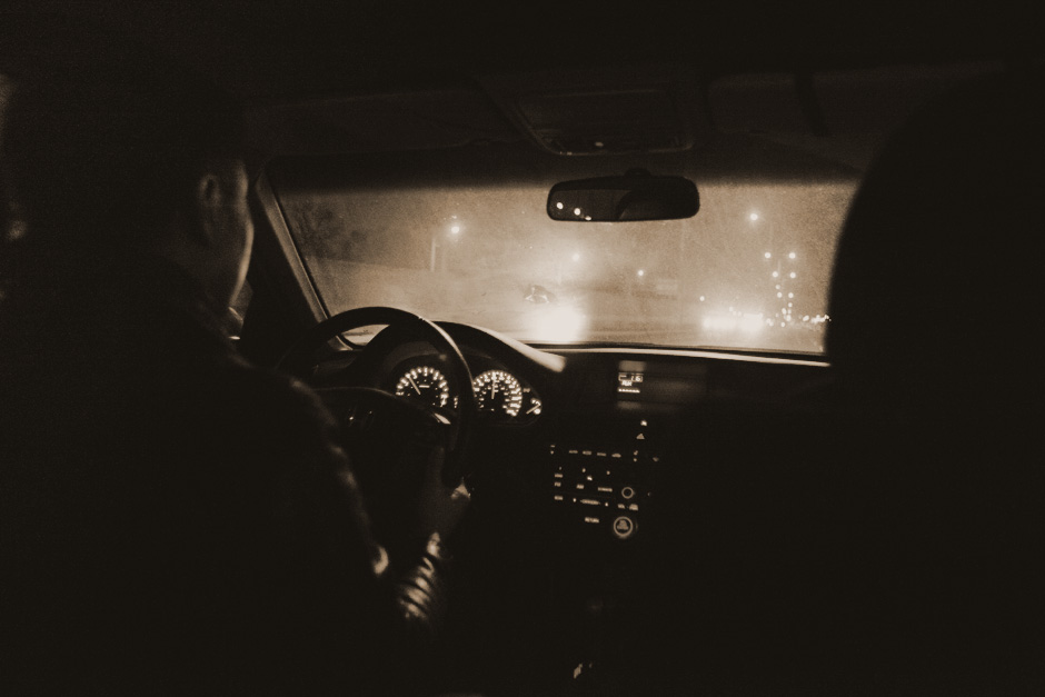 driving at night sepia
