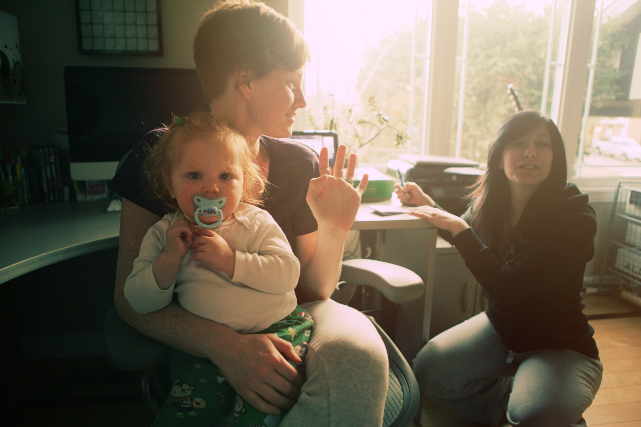 two girls and a baby