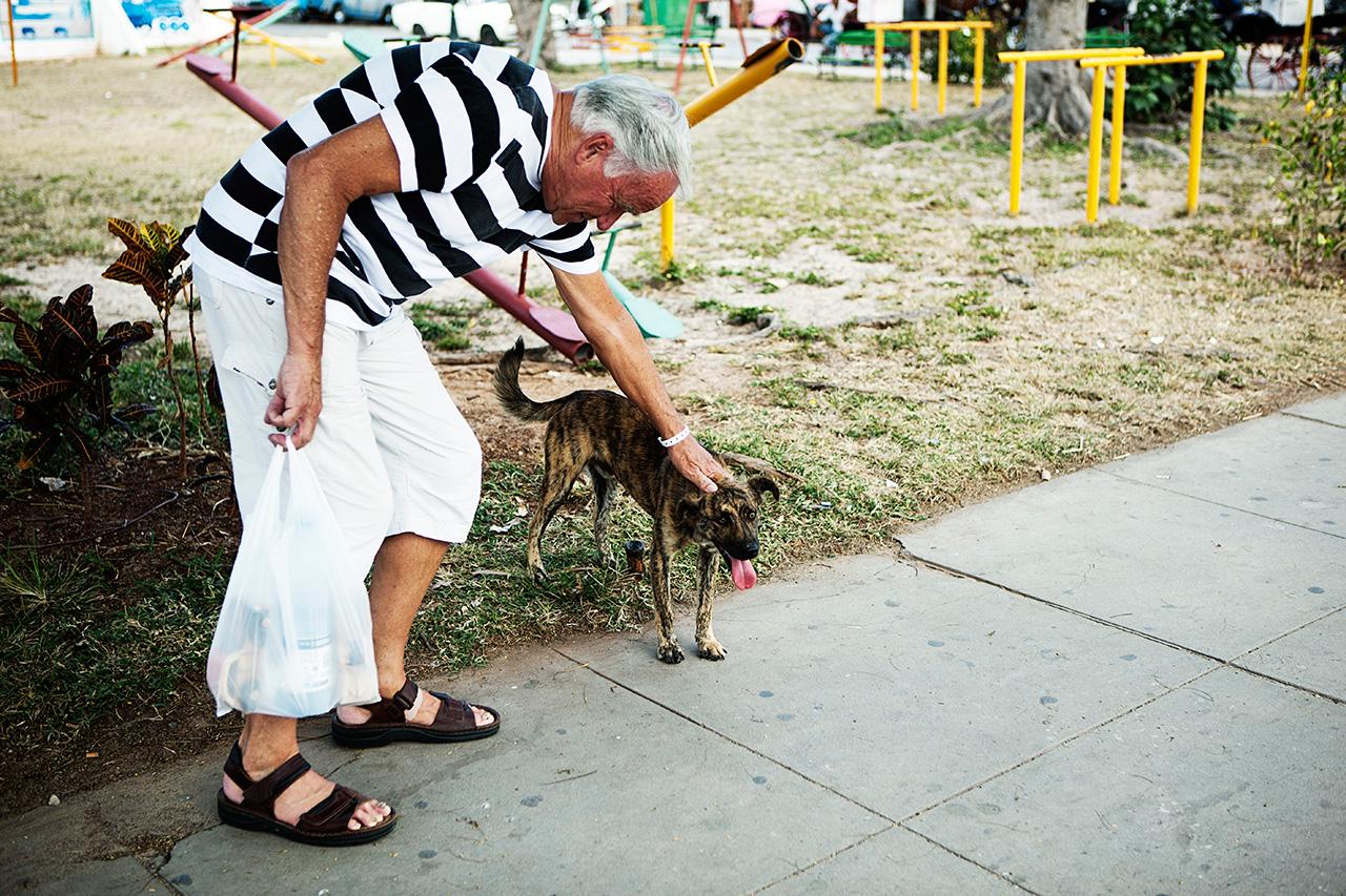 man pets dog